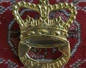 British Royal Artillery cartridge box plate - brass