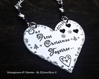 Hand Stamped Personalised 'Our First Christmas Together' Heart Christmas Ornament,Couples,Couples First Christmas,Holiday Decor,Couples Gift