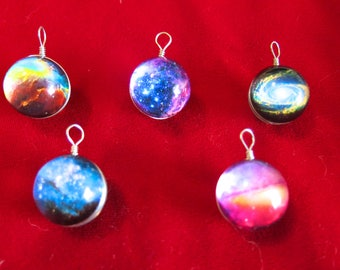 """5pc """"galaxy glass"""" pendants in silver style (BC1359)"""