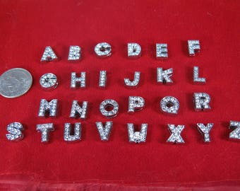 "26pc ""alphabet"" 8mm slide charms in antique style silver (BC1368)"