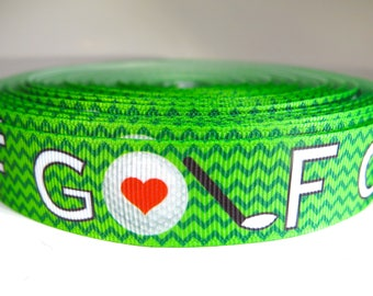 "5 yards of 7/8 inch ""Golf"" grosgrain ribbon"