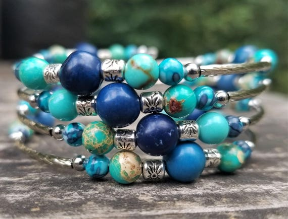 Ode to Rachel's Baby Blues Memory Wire Bracelet (Four Loops)