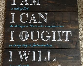 Charlotte Mason homeschool quote sign wall art I am, I can, I Ought, I will on wood, Charlotte Mason Quote