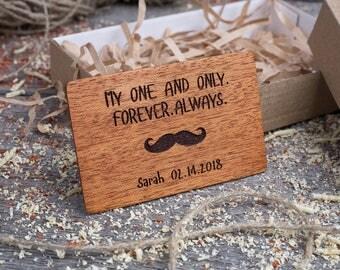 Wood Wallet Insert Card for him, Mahogany Custom Engraved Insert card, Personalized Wooden man insert card, boyfriend gift, wood wedding tag
