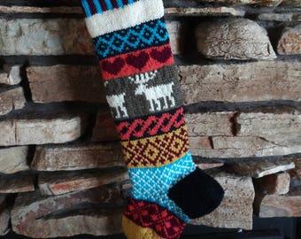 Knit Personalized Christmas Stocking,Knit Christmas Stocking, Personalized Christmas Stocking, Christmas Stocking, Fuchsia Heart Brown Moose