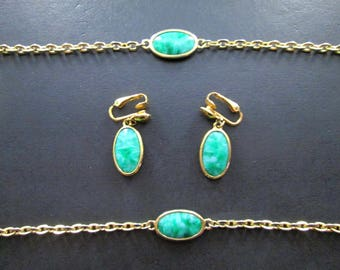 Vintage Gold Tn & Green Faux Jade Necklace and Earrings Set by Emmons Signed 70s