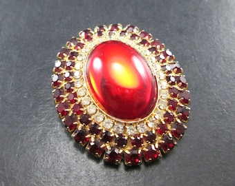 Vintage Ruby Red Rhinestone Gold Tn Oval Brooch Pin with Large Red Cabochon 1960's