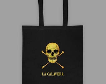 Loteria Tote Bag - La Calavera Card - Loteria Card Tote Bag - Occult Graphic Tote - Occult Bag - Mexican Loteria Bag
