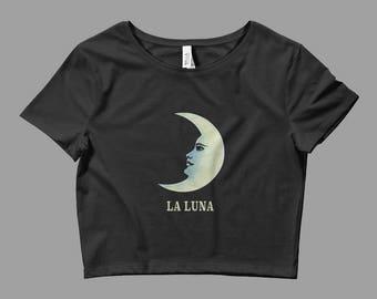 La Luna Crop Top - Loteria Graphic Crop Top - Graphic Tee - Ladies Crop Top - Occult