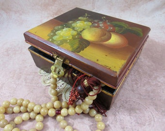Vintage Hand Painted Footed Wooden Box Wood Box with Still Life Jewelry Box Stash Box Storage Home Decor British Colonial Style