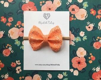 Fall Orange Glitter Bow on Headband or Hair Clip Baby Toddler Kids