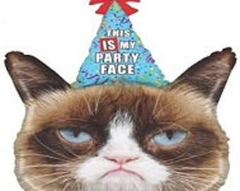 Foil balloon, grumpy cat foil balloon, mylar foil balloon, birthday balloon, party decor, grumpy cat, celebration