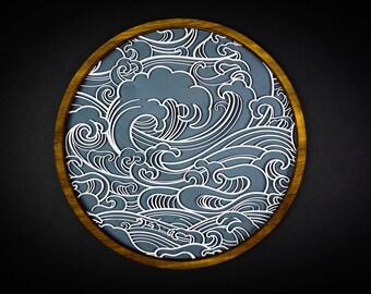 Japanese Waves, Wall Art, Ocean, Sea, Nautical, Wood 3D