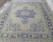 vintage oushak rug    oushak rug  turkish oushak rug  6x9 feet