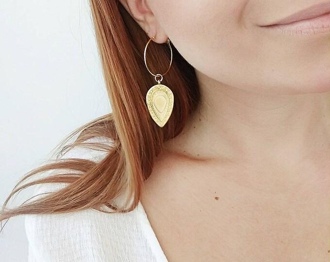 "Gold & Silver ""Lagina"" Boho Hoop Earrings / Gold and Silver plated brass / Gold and Silver plated zamak / Drop Handmade Earrings"