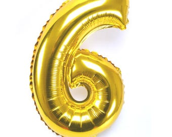 "Gold number 6 balloon 16 ""- Alphabet or numbers - Balloon foil - Mylar balloons"