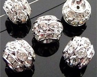 Silver metal beads and rhinestone rondelles, 10 x 8 mm sold per shape