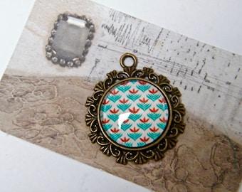 Handmade brass 20 mm glass cabochon pendant