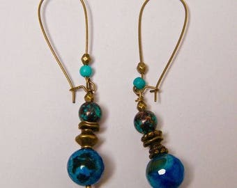 Stud Earrings, blue agate, brass, natural stone