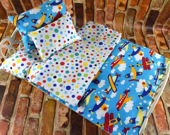"18"" Doll Bedding w Mattress | 18 in Doll Bedding Mattress | Doll Bedding | 18 inch Doll Bedding | Doll Bed Covers | Airplane Doll Bedding |"