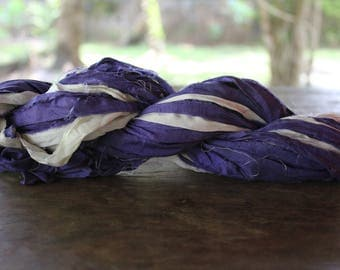 Recycled Sari silk ribbon - Blue White