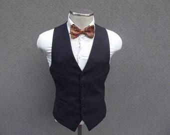 1960s Vintage Navy Vest / Navy Waistcoat Size 42 Large Lrg / Mens Suit Vest / 60s Vintage Waistcoat / Navy Blue Waistcoat / Navy Blue Vest