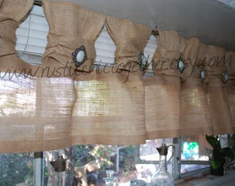 White Linen Burlap Valance Curtains Handmade Tea Stain Fabric