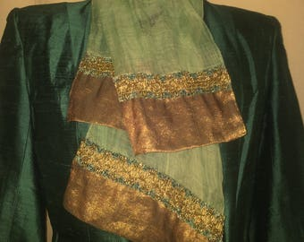 Copper scarf coir tinted green celadon lined chenille and blade