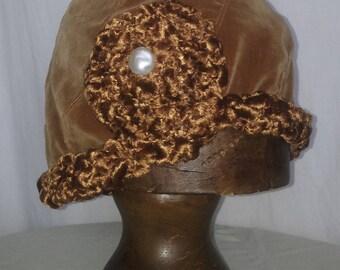 HAT OR CAP CHAMOIS VELVET CHENILLE CHAMOIS BORDERS