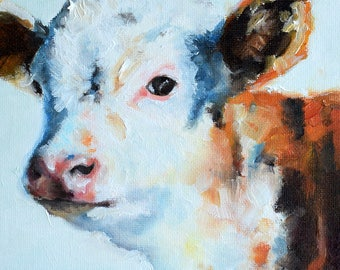Original Oil Painting, Impressionist Cow Painting, Farm Animal, Cow Art 6x6 Inch