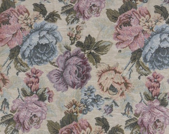 """Tapestry Fabric Rose Floral Garden Upholstery Pillow Victorian 58"""" x 51"""""""
