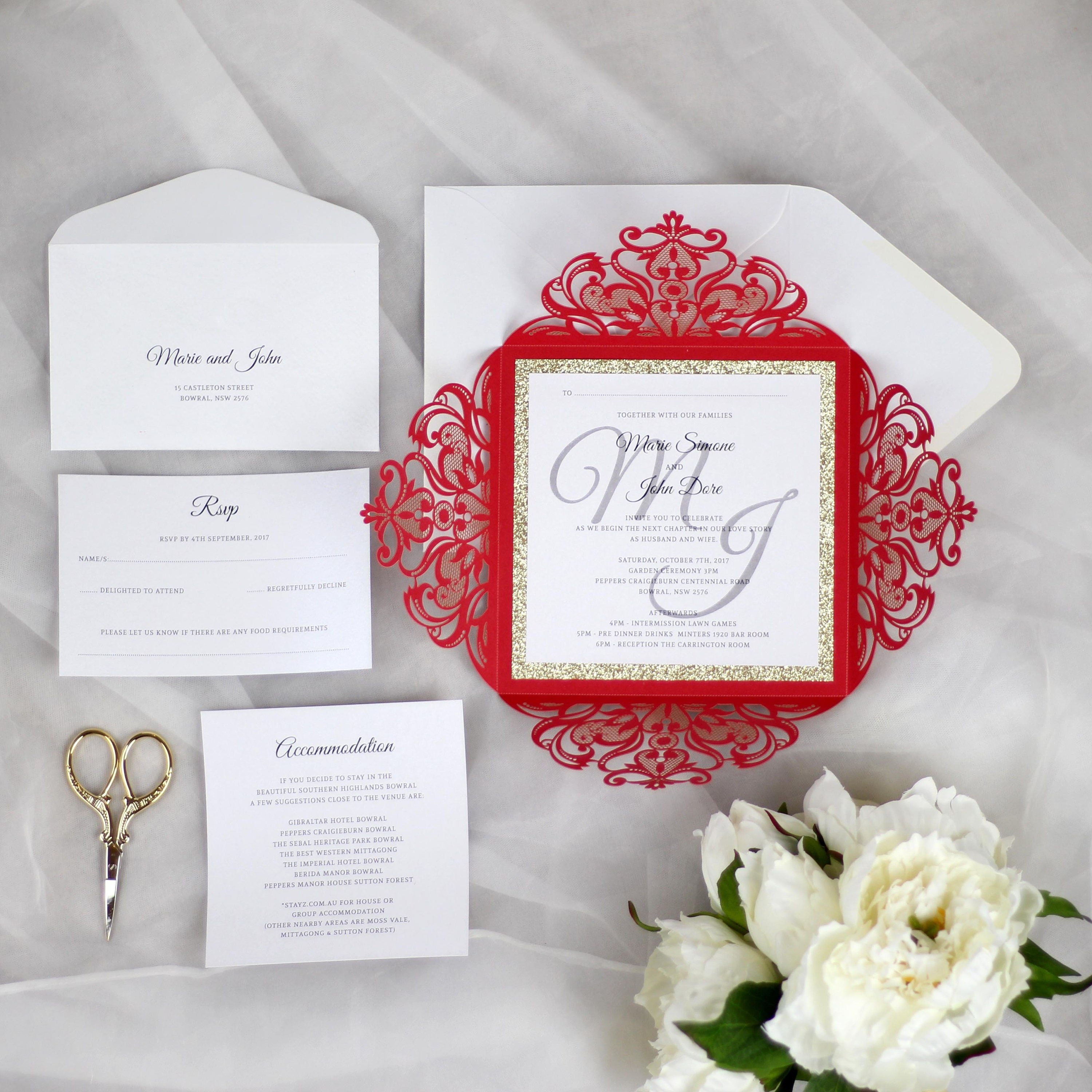 Red and Gold Wedding Invitations, Gold Glitter Wedding Invitation ...