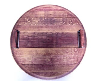 Handmade Authentic Wine Barrel Tray w/ Handles 2014 Syrah Hill Family Winery 22'' Food & Wine Tray Real Wine Barrel Top Red Wine Soaked Wood