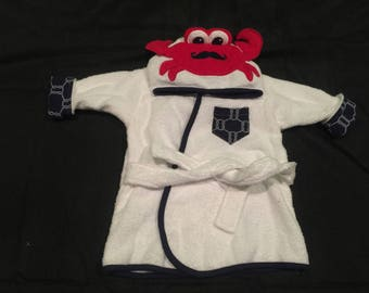 white, blue, and red lobster hooded terry cloth robe
