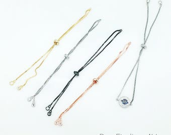 "LOT x 50pcs- Sliding Adjustable Bracelet Making Chain- Gold/ Rose Gold/ Silver/ Black Tone Approx. 10"""