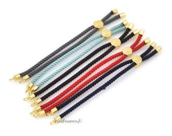 Lot x 6, Adjustable Rope Cord BOLO Bracelet, Slide Adjustable Bracelet, Bracelet Making Cord, Black/ Gold/ Silver Silver Cord BOLO Bracelet