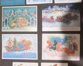 Soviet Vintage Postcards Congratulation Set of 9