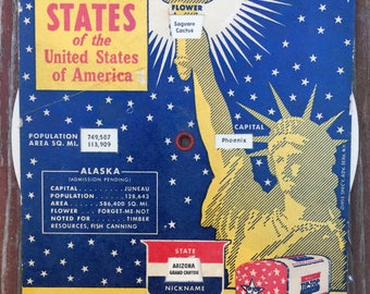 Vintage 1953 TIP TOP BREAD Know Your States Mechanical Advertising Card Disc