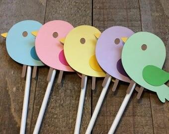 Song Bird Cupcake Topper Birthday Baby Shower Decor Decoration