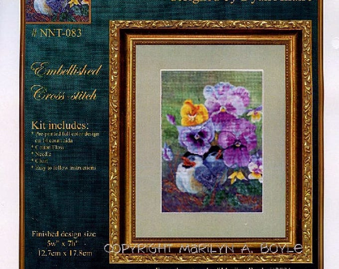 BABY CHICKADEES CROSS Stitch Kit; Embellished kit, pre-printed color image, floss, needle and chart, nature, 5 x 7 inches
