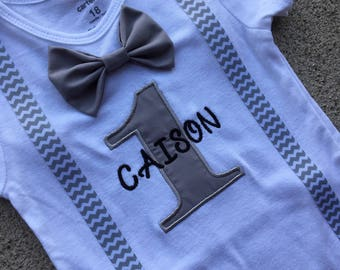 Boys First Birthday Bowtie Shirt, Gray, Gray Chevron, Birthday Outfit-BOYS 1st BIRTHDAY OUTFIT,Cake Smash, Suspender and Bow tie Outfit