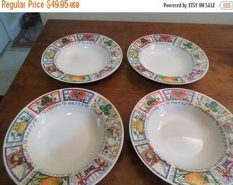 Save 25% Now Vintage Tabletops Unlimited Dinnerware Happy Everything Pattern Hard to Find Set of 4 Soup Bowls