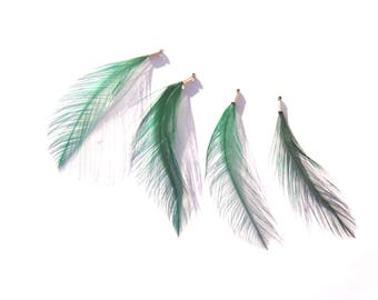 4 pendants / charms in height approximately 63 mm Green dyed Rooster feathers