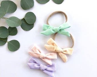 Spring Pastel Mini Hair Bow Set, Baby Girl Bow, Toddler Bow, Bow Hair Clip, Newborn Bows