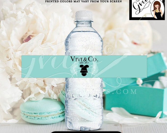 """Blue water bottle labels, stickers, personalized BABY GIRL breakfast at co, baby and co tags, party favors PRINTABLE. 8x1.5"""" 6 Per/Sheet."""