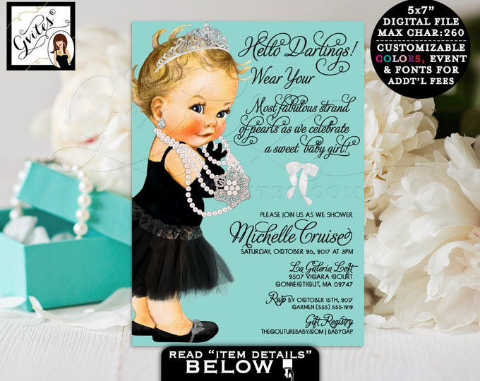 Breakfast at Tiffanys baby shower invitation, diamonds pearls princess baby girl tiara digital invitation, 5x7.