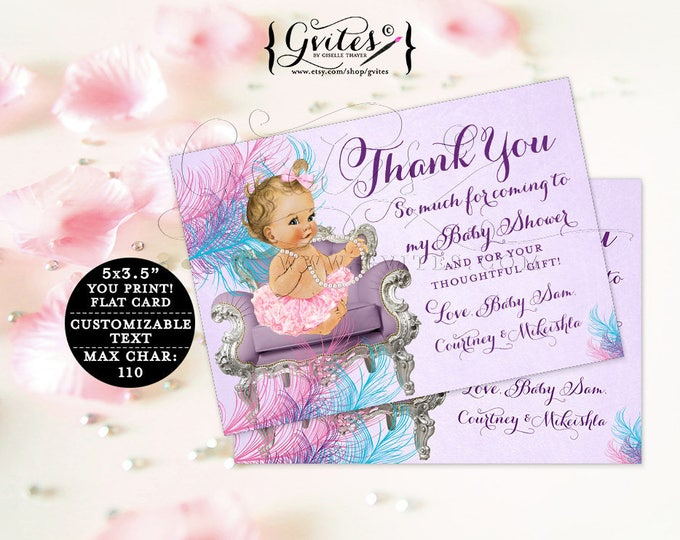 """Purple and Teal Baby Thank You Cards baby shower ribbons bows, lavender diamonds pearls, girl, flat customizable. {5x3.5"""" 4 Per/Sheet}"""