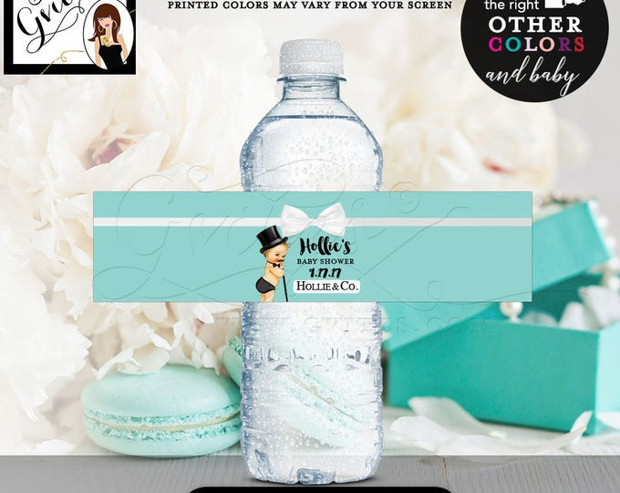 Breakfast at Tiffany's little man water bottle labels, baby and co decorations, favors, stickers, bottle wrapper, printable, 8x2 5/Per Sheet