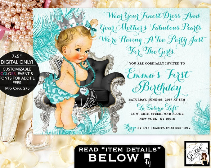 First birthday invitation girl diamonds and pearls, vintage princess baby girl invites, silver and blue, DIGITAL 7x5.