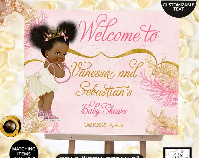 Pink and Gold welcome sign baby shower, princess african american baby girl, decorations, table signs, Customizable text Digital File!